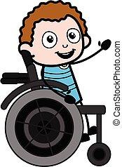 unge, hjul, tecknad film, stol