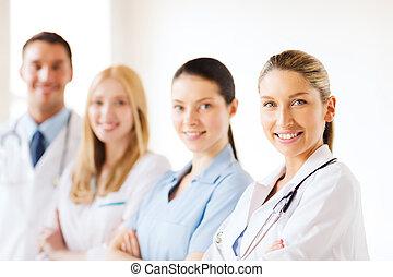 unge, hold, eller, gruppe, i, doktorer