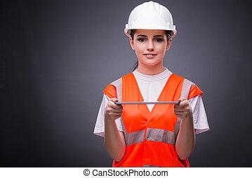 unge, konstruktion arbejder, hos, tablet, computer