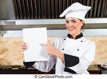 unge, kvindelig køkkenchef, holde, menu