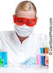 unge, kvindelig, laboratorium., afdelingssygeplejersken, gør, noget, prøver