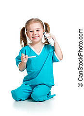 unge, läkare, flicka, bakgrund, isolerat, vit, temperatur, mätning