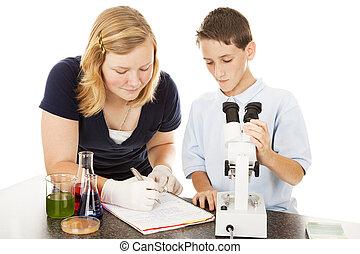 unge, laboratorium., videnskabsmænd