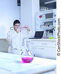 unge, mandlig, forsker, bær, ydre, videnskabelig forskning, ind, en, laboratorium.