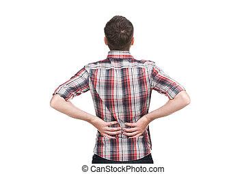 unge menneske, holde, hans, hånd, til, hans, smert, back., mand, tilbage hold, because, i, lavtliggende smerte tilbage