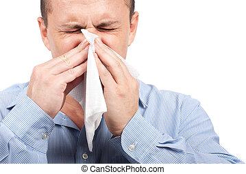 unge menneske, hos, flu