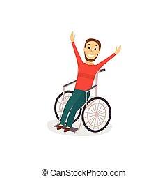 unge menneske, ind, wheelchair, rehabilitering, begreb