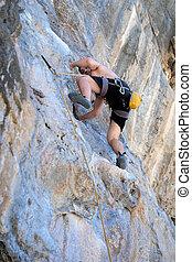 unge menneske, klatr rokk, på hvide, bjerg
