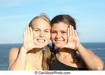 unge mennesker, hos, smukke, smiler, hvid, perfekt tand