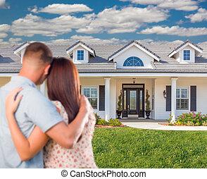 unge, militær, par, facing, smukke, nye, house.