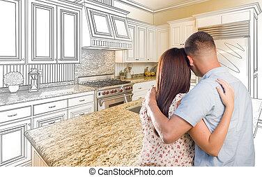 unge, militær, par, inderside, told, køkken, og, konstruktion, affattelseen, kombination