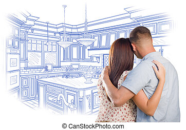 unge, militær, par, kigge, told, køkken, konstruktion, affattelseen
