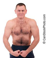 unge, muskuløse, mand, krop