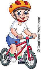 unge, på, cykel