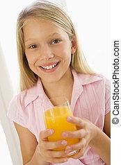 unge, saft, indendørs, nydelse, appelsin, smile pige