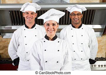 unge, smukke, professionel, køkkenchefer