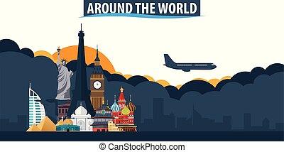 ungefähr, der, world., reise tourismus, banner., wolkenhimmel, und, sonne, mit, motorflugzeug, auf, der, hintergrund.