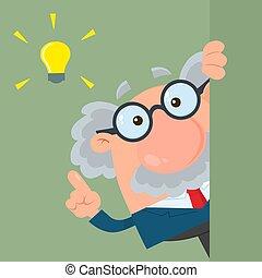 ungefähr, groß, professor, zeichen, idee, oder, schauen, wissenschaftler, ecke, karikatur