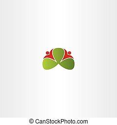ungefähr, leute, gesunde, blätter, vektor, grün, logo, ikone