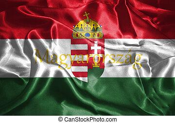 ungerska, täcka, medborgare, vapen, illustration, flagga, 3