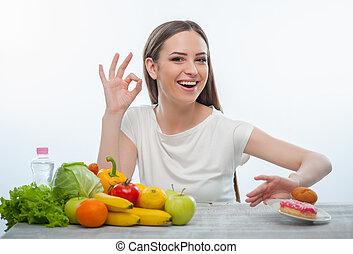 ungesunde speise, ablehnen, junger, hübsches mädchen, essen