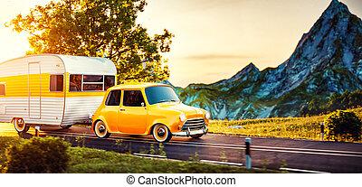 ungewöhnlich, begriff, camping, klassisches auto, caravan., trailer., abbildung, reisen, weißes, 3d, retro