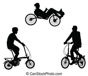 ungewöhnlich, radfahrer, silhouetten