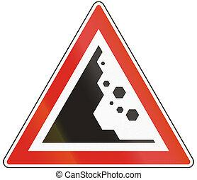 ungherese,  -, pietre, avvertimento, Cadere, segno, strada