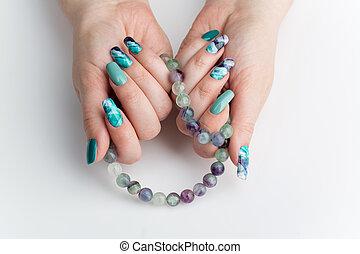 unghia, donna, closeup, colorito, mani