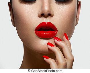 unghia, trucco, labbra, manicure, sexy, rosso, closeup.