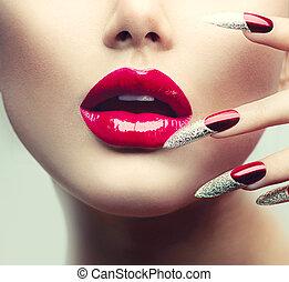 unghia, trucco, lungo, labbra, lucido, manicure., rosso