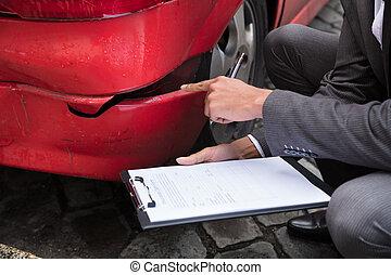 unglück, auto, nach, agent, schreibende, klemmbrett, versicherung