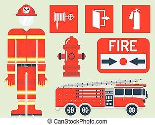 unglück, illustration., notfall, gefahr, feuer, sicher, feuerwehrmann, ausrüstung, vektor, sicherheit, schutz, werkzeuge