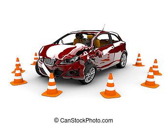 unglück, rotes auto