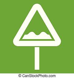 ungleich, dreieckig, zeichen, grün, straße, ikone