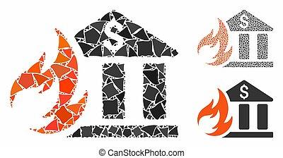 ungleich, ikone, katastrophe, feuer, mosaik, bank, elemente