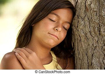 ungt barn, avnjut, natur