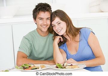 ungt par, avnjut, måltiden, tillsammans