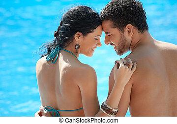 ungt par, gör, smekmånad, in, tillflykt