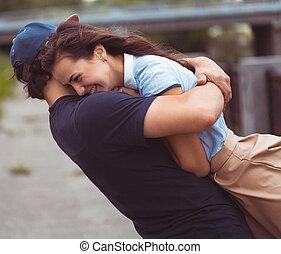 ungt par, i kärlek, -, lycka, begrepp