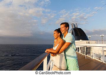 ungt par, kigge hos, solopgang, på, cruise afsend