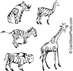 ungulates animals in tribal style - Ungulates animals in...