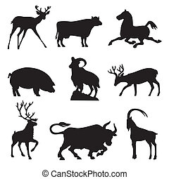 ungulates animals - set silhouette vector images animals fnd...