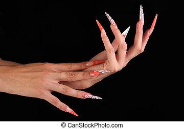 unha, human, dedos, longo