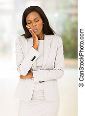 african american woman having toothache