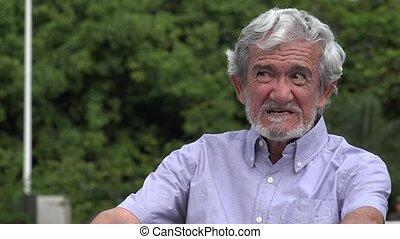Unhappy Angry Senior Elderly Hispanic Man