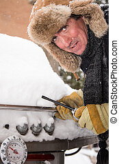 Unhappy Barbeque guy in Snow