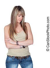 Unhappy blond girl