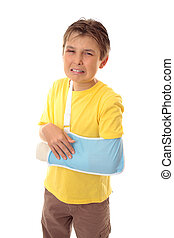 Unhappy boy broken arm - Injured young boy with sore arm in...