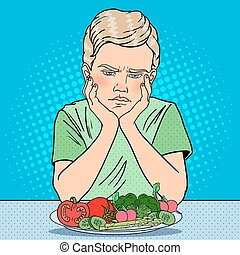 Unhappy Boy with Plate of Fresh Vegetables. Healthy Eating. Pop Art retro vector illustration